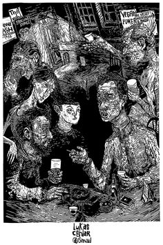 Bar - Linocut poem illustration