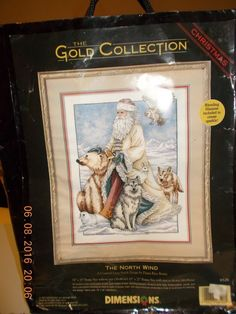 Dimensions Gold Collection Kit (The North Wind) - STARTED FREE HOOP #DimensionsGoldCollection #countedcrossstitchkit