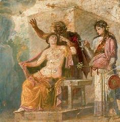 Pompeii - beautiful painting remains on the wall.