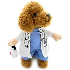 PEGASUS Doctor Suit Fancy Dress Dog Costume Coat Medicine Box Decorated All Seasons Blue White, for Small Dog Cat Puppy