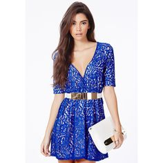 Missguided Darcela Lace V-Neck Skater Dress ( 56) ❤ liked on Polyvore  featuring 52e8e1ea4