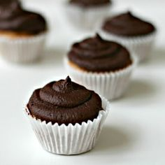 Peanut Butter Cupcakes with Dark Chocolate Frosting