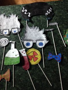 Hand made photo booth props for a science themed birthday. Mad scientist
