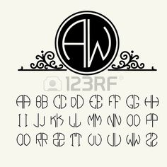 Lettres mod les fix s pour cr er des monogrammes de deux lettres d crit dans un cercle de style Art Banque d'images