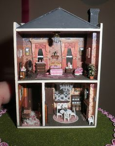 1/144 scale dollhouse miniature cottage - the dollhouse I made has been beautifully furnished by the lady who bought it from my Etsy store - very exciting!