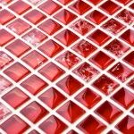 What about a little bit of scarlet red to spice up your room? These red sparkle mosaic tiles have a crackle finish and are perfect for kitchens and bathrooms. Mosaic Tiles Uk, Kitchen Mosaic, Stone Mosaic Tile, Mosaic Glass, Kitchen Colour Schemes, House Tiles, Marble Stones, Glass Texture, Red Glass