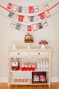 Vintage trains birthday party banner and sweets table! See more party planning ideas at CatchMyParty.com!