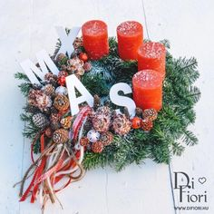 Christmas wreath, table decoration / Adventi koszorú, XMAS adventi koszorú - Karácsony 2015 - Di Fiori Christmas Wreaths, Xmas, Advent, Holiday Decor, Table, Home Decor, Christmas, Dekoration, Decoration Home