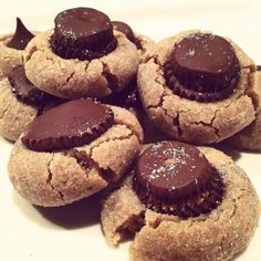 Peanut Butter Cookies with Peanut Butter Cup Centers. Added *glitter*