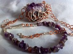 Abstract Amethyst Druze Handmade Chain  on Etsy, $56.00