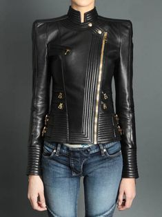 BALMAIN leather biker jacket. Super-structured! Need this in Vegan leather!!!