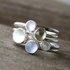 Luminous Gemstone Stacking Rings Sterling Silver by KiraFerrer