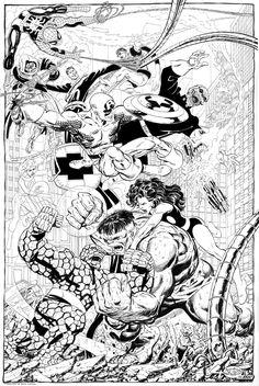 The Hulk, Red Skull, Doc Ock and Doctor Doom vs. The Avengers, Spider-Man and Fantatsic Four by John Byrne *