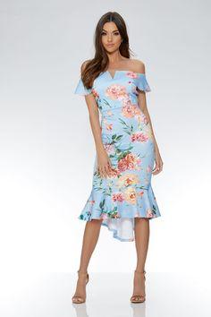 Vestido Azul y Rosa con Estampado de Flores y Bajo Asimétrico