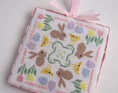 Completed Floss Box Easter or Spring Bunny and Chick Cross Stitch Ornament & Stand