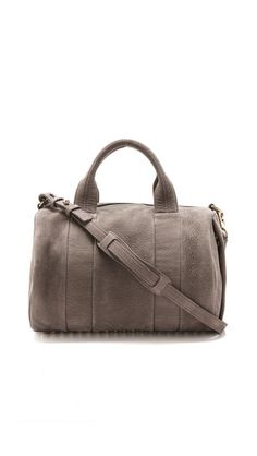 """Alexander Wang Rocco Duffel Bag $925, """"ELEPHANT"""" COLOR, LEATHER - GORGEOUS, NOT TOO BIG OR SMALL ~"""