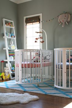 A sweet nursery for two. When designing your twin nursery keep it simple for a clean and contemporary look.