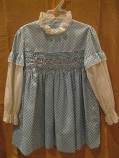 c5cbf38527c5 Polly Flinders vintage hand smocked , blue and white checked with  embroidery, size 5 dress