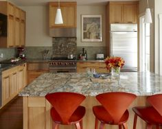 This is the one!  Especially the orange chairs! Granite And Tile Backsplash Design, Pictures, Remodel, Decor and Ideas