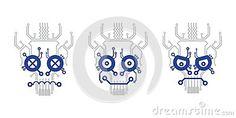 Electric scheme skull icon vector