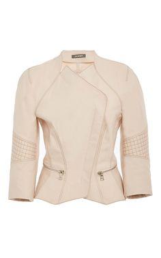 Three Quarter Length Sleeve Moto Jacket by ZAC POSEN for Preorder on Moda Operandi