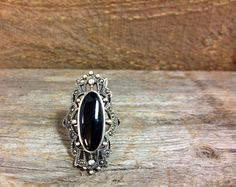 Vintage Sterling Silver Black Onyx and Markasite Ring at Renaissance ewelers