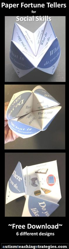 "Fold these free ""fortune tellers"" into social skills games for conversation, etc. Nine different varieties."