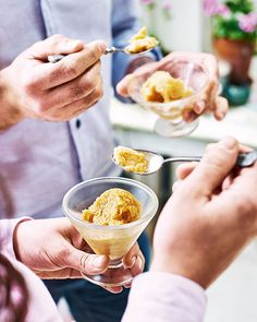 Theodore Kyriakou knows all about great sorbets, as can be seen in this recipe. This frozen dessert is full enticing flavours from the grilled peaches and grape molasses – a sweet, yet satisfying, way to end a meal.