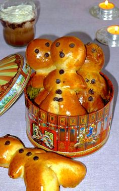 Mannala, a variety of small brioche shaped like little men is a traditional recipe available in Alsace for Saint Nicolas holiday.