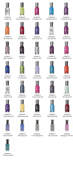 Sally Hansen: invisible, green with enemy , hot magnet, blue me away, rockstar pink, sun kissed, cherry red, deep purple, disco bell, posh plum, strobe light, flirt, celeb city, plum power, twisted pink, blue it, my league, lacey lilac, marine scene, crushed, white on, gunmetal, fuchsia power, grey area, mint sorbet, purple potion, mellow yellow, black out, blizzard blue, red carpet, virtual violet, pacific blue, in the spotlight, wet cement, bubblegum pink, the real teal.