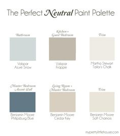 The Perfect Neutral Paint Palette | Benjamin Moore Cedar Key, Philipsburg Blue, Soft Chamois | Valspar Frappe, Azure Snow | Martha Stewart Tailor's Chalk