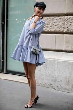 50 Best Street Style Snaps from Haute Couture Fashion Week Simple Dresses, Cute Dresses, Casual Dresses, Short Dresses, Fashion Dresses, Street Chic, Street Style, Street Looks, Pinterest Fashion