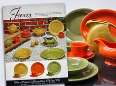 Vintage Fiesta (ware) Turf Green, Antique Gold and Mango Red. These colours were introduced in 1969 then discontinued in 1972.