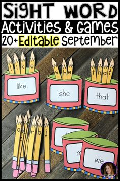 20 EDITABLE Kindergarten Sight Word Activities Perfect for Back to School - Kindergarten Rocks Resources - sight words - Education Teaching Sight Words, Sight Word Practice, Sight Word Activities, Literacy Activities, Kindergarten Sight Words List, Sight Words For Preschool, Sight Word Spelling, Sight Word Worksheets, Reading Activities