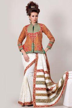 Lavish Luster White #Designer #Saree