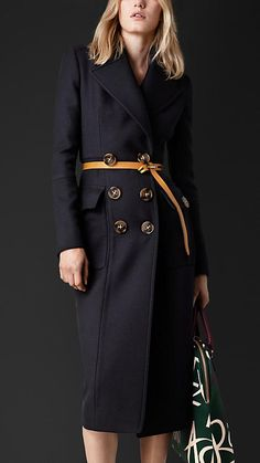 Burberry Prorsum Sculptural Wool Twill Tailored Coat