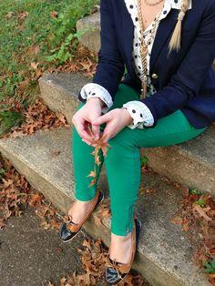 green jeans + polka dotted button down + navy blazer