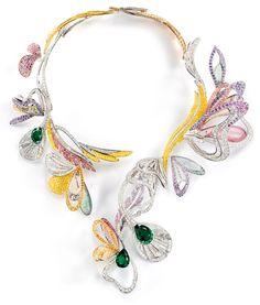 Boucheron | Bouquet d'Ailes necklace set with emeralds, colored sapphires, fine stones and diamonds.