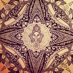 Draw by Antoine Giordani - Mandala, Ganesha, old, Staedtler