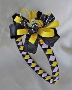 BumbleBee Ribbon Woven Headband with Detachable Bow by AdelaidDesigns on Etsy