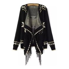 Geometric Print Tassel Asymmetrical Black Cardigan ($21) ❤ liked on Polyvore featuring tops, cardigans, black, asymmetrical cardigan, knit tops, knit cocoon cardigan, black knit top and long sleeve tops