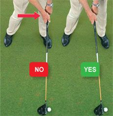 Two-Planer: How to avoid the push. The danger for a two-planer is that the act of shallowing out a steep angle through impact opens the clubface. Play the ball far enough forward in your stance. When you move the ball forward, opposite your front heel, make sure you don't push your hands forward as well. That pulls your right shoulder toward the ball and skews your aim to the left. Keep your hands slightly behind the ball to maintain the correct shoulder alignment.