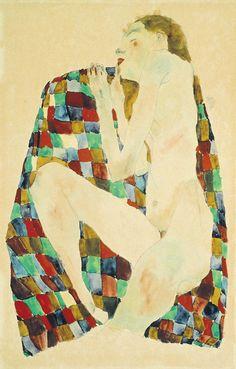 Egon Schiele - Nu Féminin sur Tissus à Carreaux, 1911