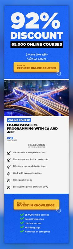Learn Parallel Programming with C# and .NET Software Engineering, Development #onlinecourses #onlinedegree #onlinecollegetipsDiscover the core multithreading and parallelization concepts supported by the .NET framework. This course is about.NETParallel Programming withC# and covers the core multithreading facilitiesin the .NETFramework, namely the Task ParallelLibrary(TPL) and Para...