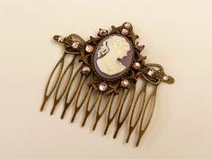 Haarkamm mit Kamee in lila bronze viktorianisch Haarschmuck