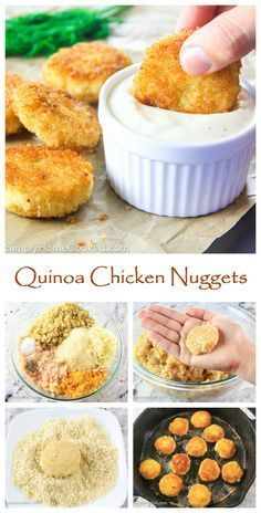 Quinoa chicken nuggets are made with ground chicken breast, cooked quinoa, and sauteed vegetables.