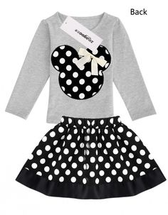 Girls Mouse Style Shirt and Skirt Set