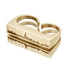 A fave fr one of my fave shops ever! New York City SKYLINE OUTLINE Ring Yellow Brass by snashjewelry. $92.00