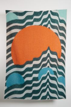 Artist Wool Blankets - Sol Entre Ondas Wool Blanket By Daniel Barreto Vibrant Colors, Colours, Bauhaus Design, Color Effect, Cotton Blankets, Weaving Techniques, Organic Shapes, Wool Blanket, Original Art
