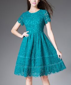 Another great find on #zulily! Turquoise Lace Fit & Flare Dress #zulilyfinds